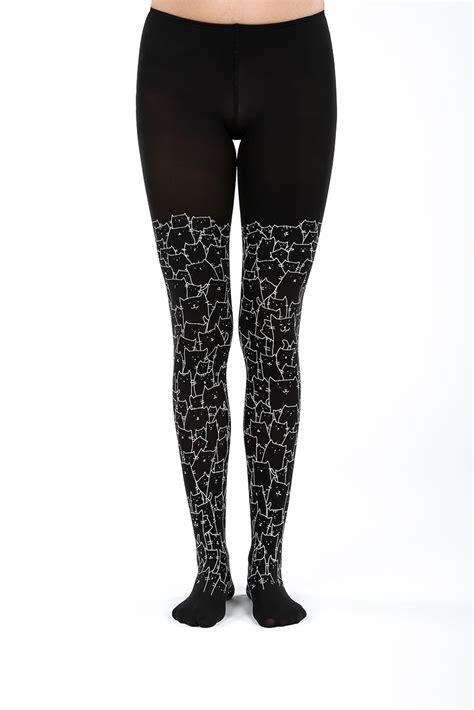 Cat Printed Tights clowder of cats black virivee tights