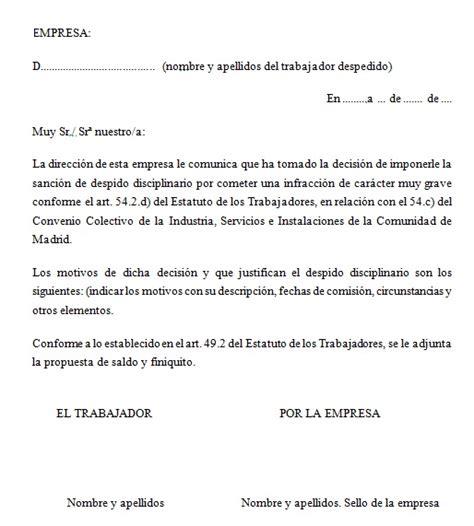 Ejemplo Carta De Despido Laboral | ejemplo de carta de despido disciplinario ejemplos de carta