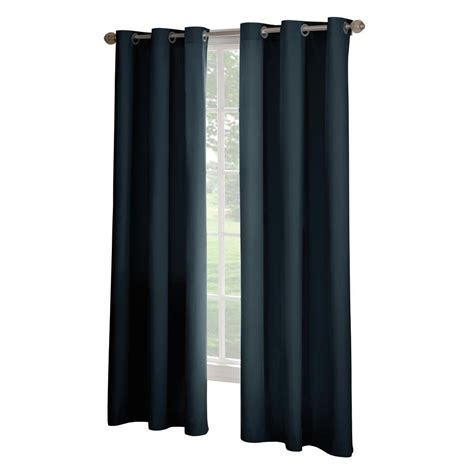 home depot drapes solaris black media back tab curtain 1622298 the home depot