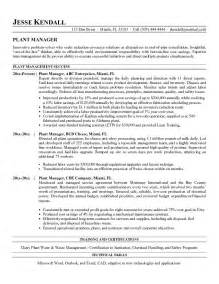 Factory Manager Sle Resume by Free Plant Manager Resume Exle