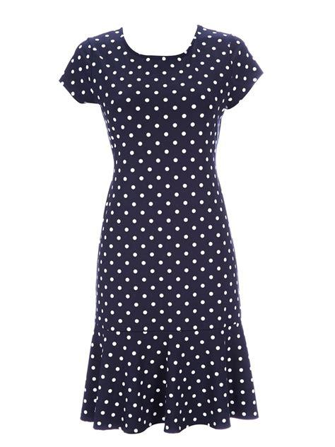 Dress Jesy Navy wallis navy spot jersey frill dress in blue navy lyst