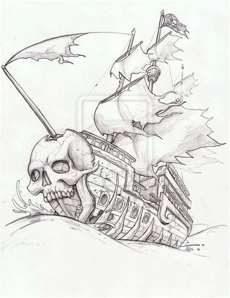 Ghost Ship Coloring Pages | ghost pirate ship tattoo