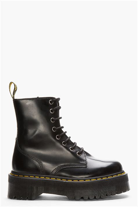 dr martens black leather quado retro 8 eye jadon boot in