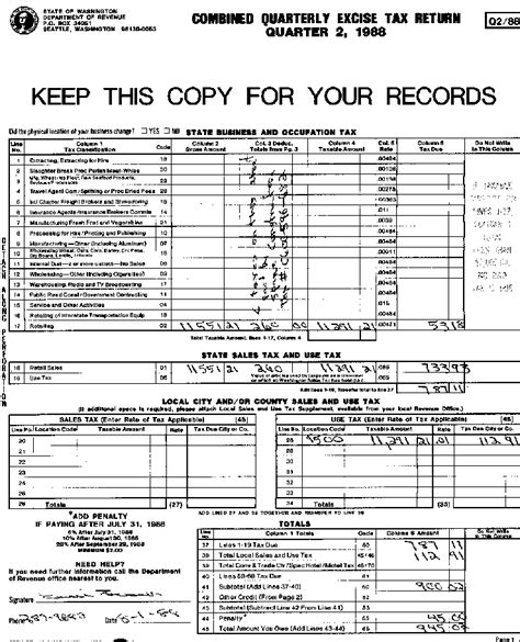 what is washington state sales tax april may june 1988 washington state sales tax return