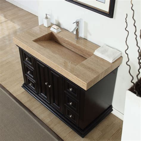 48 Inch Bathroom Vanity With Granite Top Accord 48 Inch Traditional Single Sink Bathroom Vanity Integrated Travertine Countertop