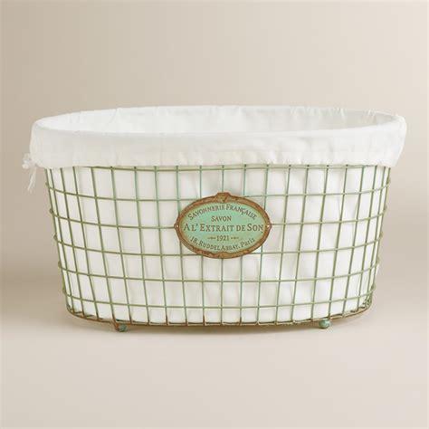 Mint Green Marcie Wire Laundry Basket World Market Wire Laundry