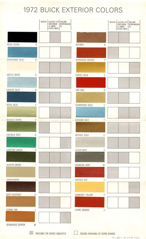 1972 buick exterior colors chart