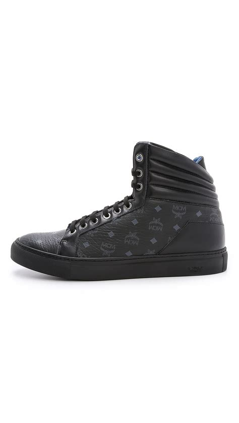 mcm sneakers mens mcm high top sneakers in black for lyst