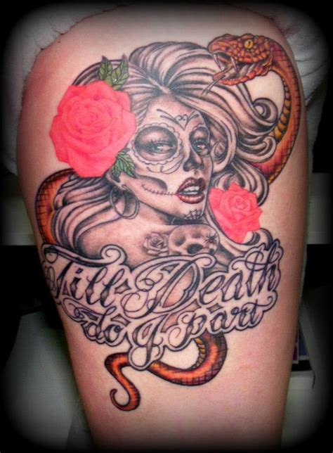 girl snake tattoo designs day of the dead sugar skull and roses by