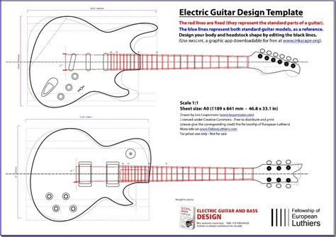 electric guitar templates an editable blueprint of a les paul and a stratocaster