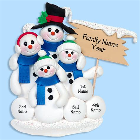 snowman family of 4 handmade polymer clay personalized