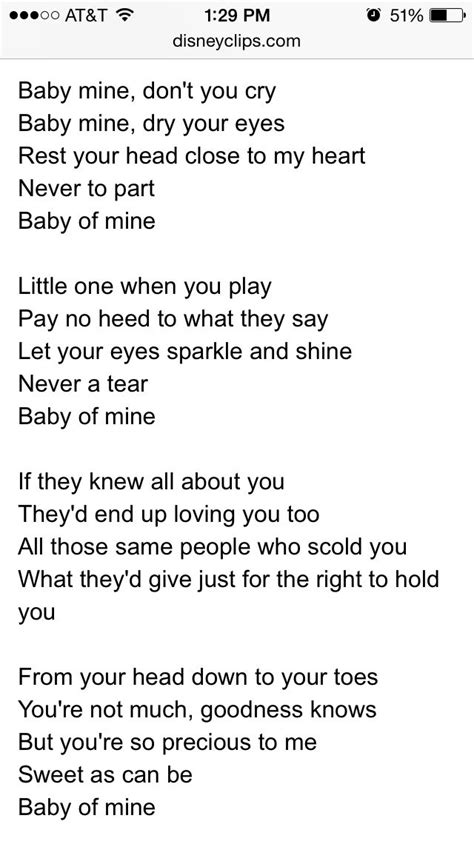 Baby Mine baby mine lyrics from dumbo lyrics babies
