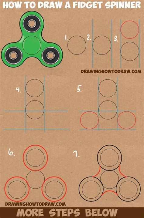 tutorial c beginners how to draw a fidget spinner easy step by step drawing