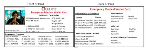in of emergency wallet card template emergency wallet card