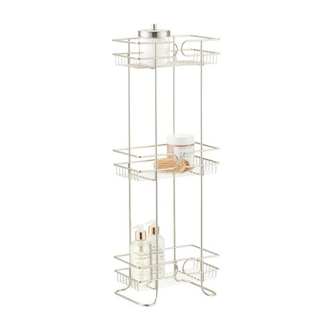 bathroom shelf tower satin nickel 3 tier bathroom shelf tower the container store
