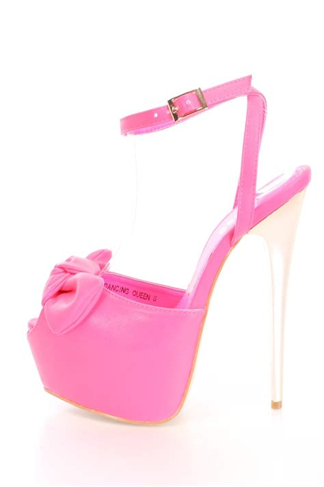 neon pink bow peep toe platform heels faux leather
