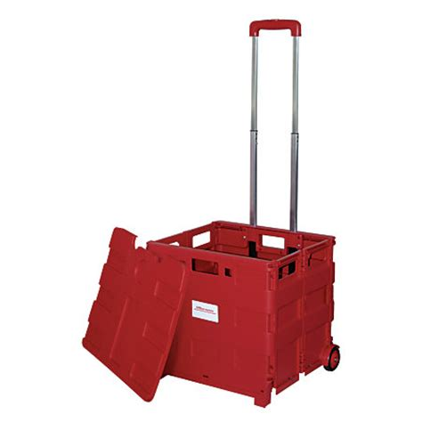 office depot brand mobile folding cart with lid 16 x 18 x