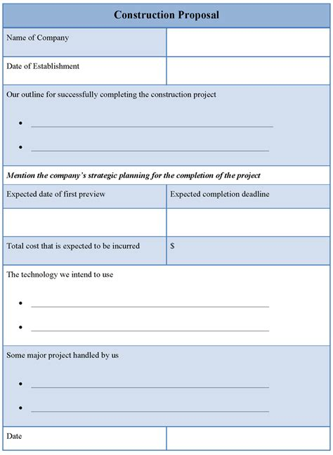proposal template for construction template of