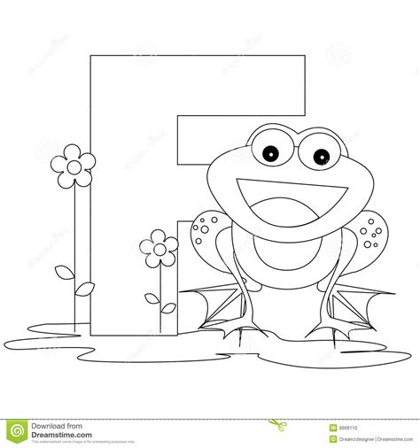 Animal Alphabet F Coloring Page Stock Photo Image 9999110 Frog Prince Coloring Page