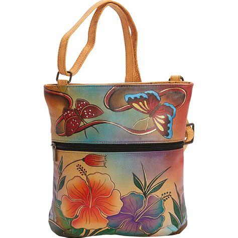 painted leather handbags by anuschka painted slim cross shoulder bag leather handbag new ebay