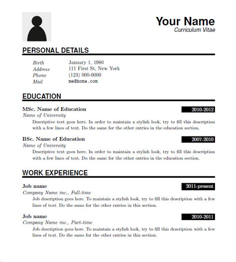 15 latex resume templates free samples examples