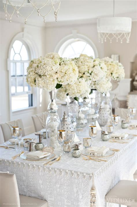 Dining Room Table Centerpieces Ideas by Silver And White Creates The Perfect Modern Wedding Theme
