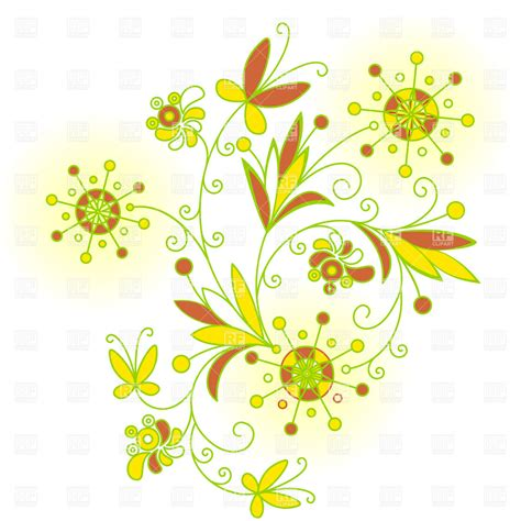 flower design pictures abstract floral design with symbolic flowers vector image