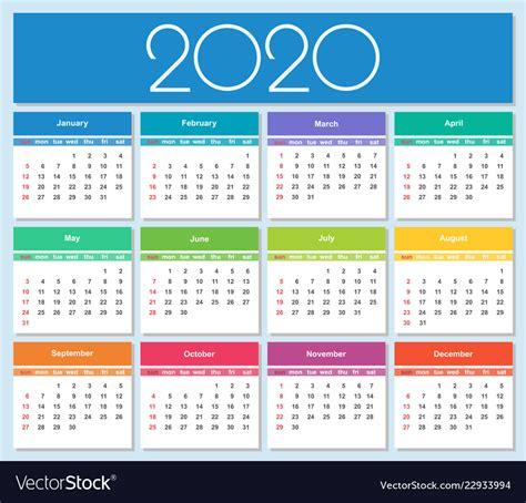 colorful year  calendar royalty  vector image