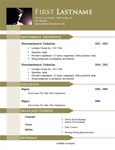 Free Resume Templates Doc by Free Cv Templates 646 To 652 Free Cv Template Dot Org