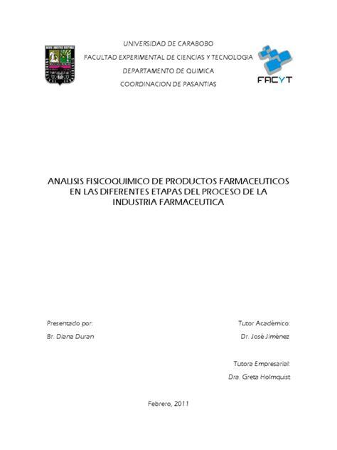 Analisis Fisicoquimico de Productos Farmaceuticos