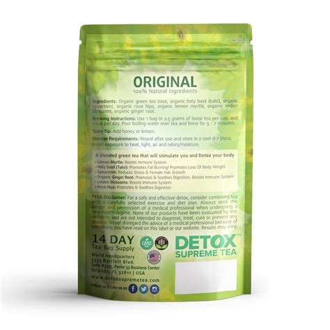 14 Day Detox Tea by Supreme Detox Tea With Caffeine 14 Day Supply Detox