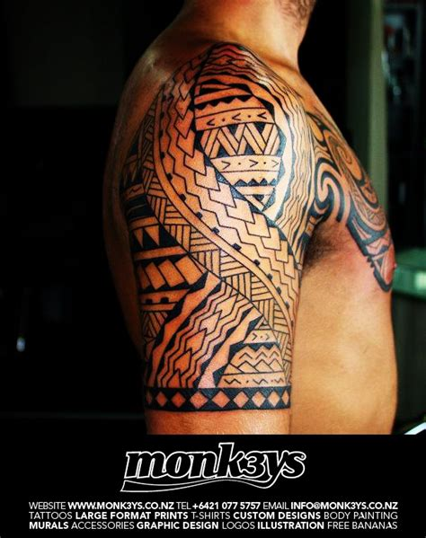 chest and half sleeve tattoos maori polynesian sleeve designs