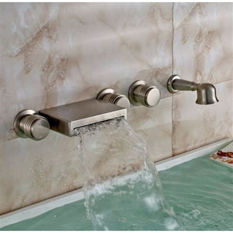 handheld bathtub faucet wall mount bathtub faucet with handheld shower brushed nickel finish