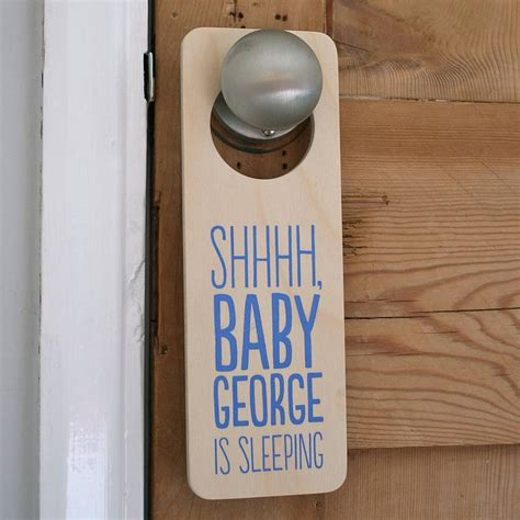 door hanger personalised baby sleeping door hanger by the design