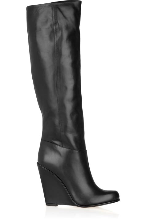 bally deity leather wedge knee boots in black lyst