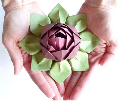 Origami Lotus Flowers - handmade paper flower origami lotus flower decoration or