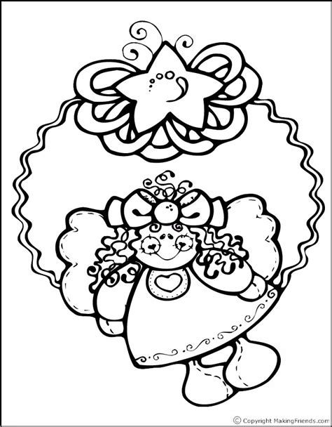 Christmas Wreath With Angel Coloring Page Free Printable Coloring Wreath Pages