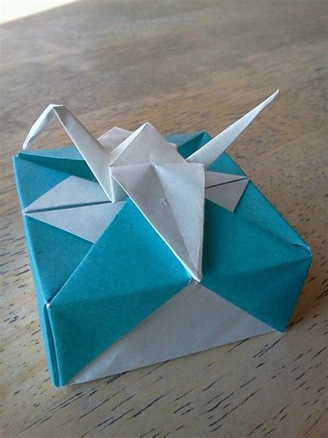Folded Square Origami Paper - origami box with crane box folded from 6 quot square crane