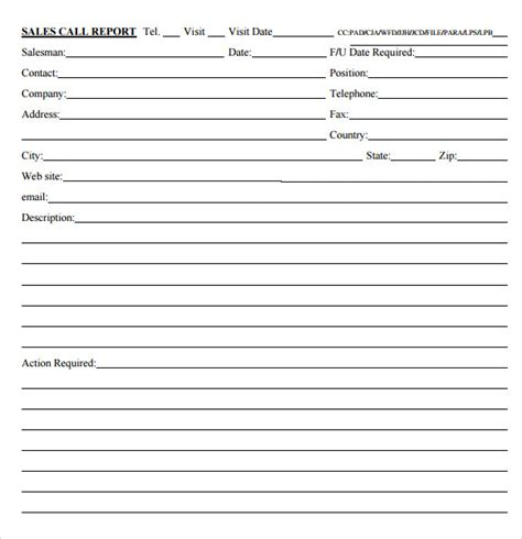 sales call report form editable forms