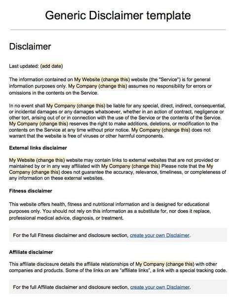 no responsibility disclaimer letter sle disclaimer
