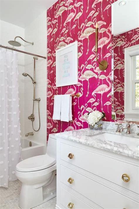 ordinary Powder Room Decor Ideas #2: 14-hot-pink-flamingo-print-wallpaper-on-one-wall-makes-a-bold-statement.jpg