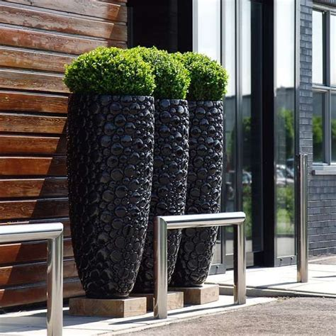 Large Black Outdoor Pots Large 380 Dia Black Indoor Outdoor Planter Home