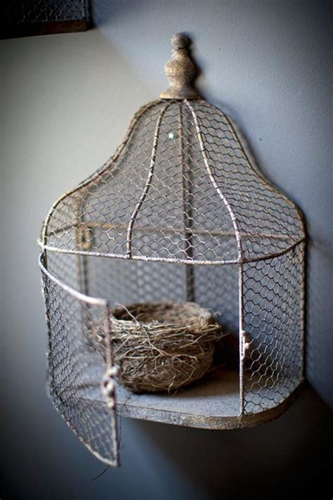 Bird On A Wire In A Cage Its All The Same by Sj Home Interiors And Wall Decor Chicken Wire Bird Cage