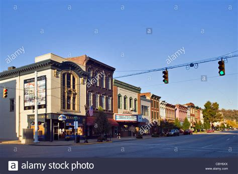 american towns small american town main street in madison indiana stock
