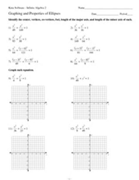 identifying parts of a parabola worksheet answers graphing ellipses given the general equation quiz intermediate algebra skill graphing ellipses