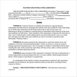 Contract For Subcontractors Template by Sle Subcontractor Agreement 10 Free Documents
