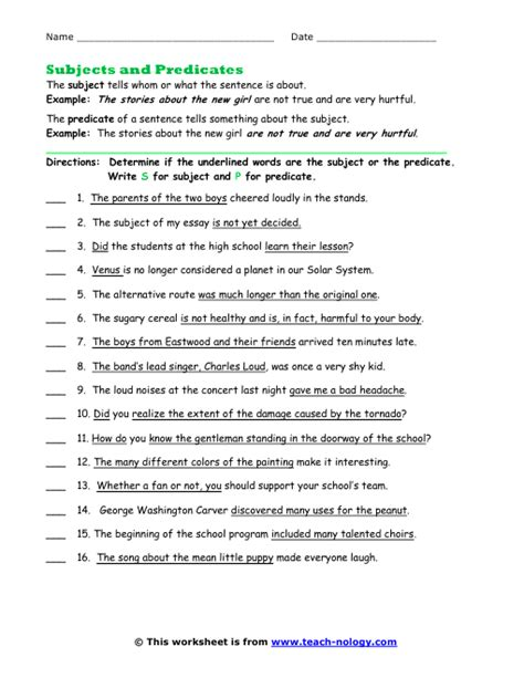 Identify The Subject Of A Sentence Worksheet by Find The Subjects And Predicates