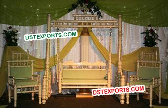 swing stage setup decorated wedding swings jhula horse drawn carriages buggy