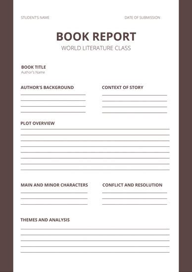 white brown minimalist high school book report templates
