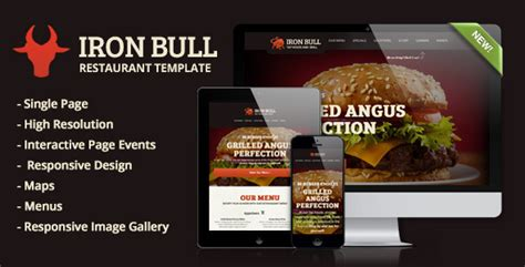 themeforest restaurant template iron bull responsive restaurant template by wrwipeout
